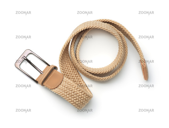 Top view of woven braided textile stretch belt