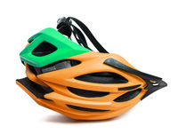 Multicolor bicycle helmet upside down isolated on white