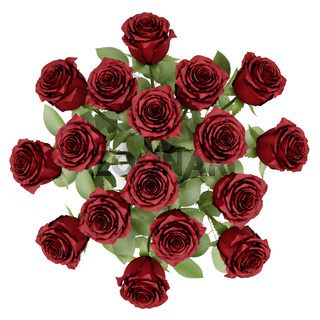 top view bouquet of red roses in vase isolated on white background