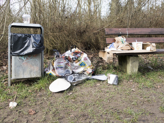 rubbish left in a park
