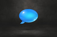 Blue speech bubble on black background
