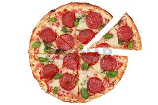 Geschnittene Pizza Salami