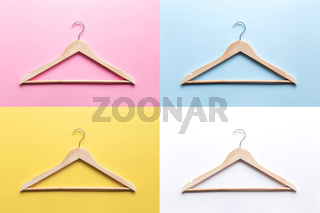 Black Friday, clothing industry concept colorful collage with wooden hangers