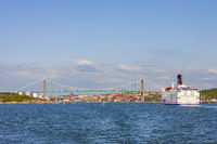 Ferry on the way at the inlet to Gothenburg city in Sweden