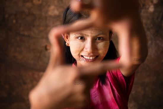 Myanmar girl playing fun.