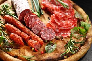 Different Italian ham and salami with herbs