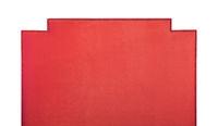 Red soft velvet bed headboard isolated on white