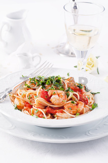 Spaghetti diablo with king prawn