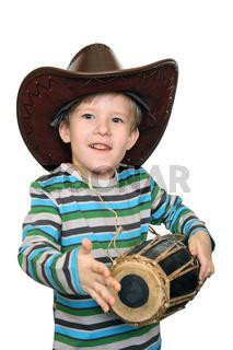 Emotional kid beats the drum