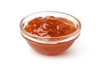 glass bowl of apricot jam