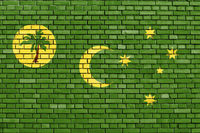 flag of Cocos (Keeling) Islands painted on brick wall