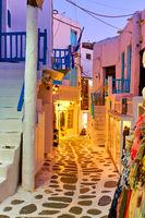 Cozy street in Mykonos