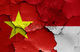 flags of Vietnam and Indonesia painted on cracked wall