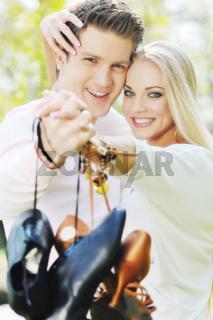 romantic couple in love outdoor