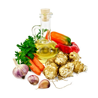 Jerusalem artichokes with vegetables and oil
