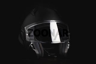 Black modular motorcycle helmet.