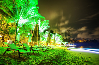 Tropical beach at night time. Long exposure shot.