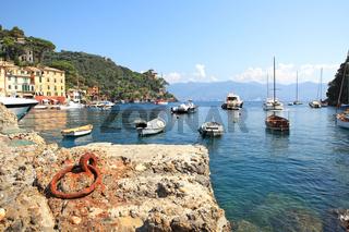 Old harbor of Portofino, Italy.