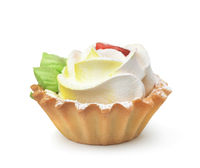 Tartlet cake with whipped cream flower
