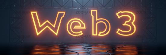 glowing neon tube word web3