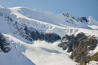 Snow avalanche on a glacier