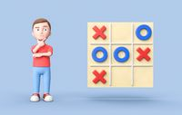 Young 3D Cartoon Character and Tic-Tac-Toe Game on Blue Background