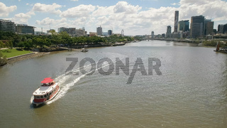 ferry on the brisbane river at south bank in queensland
