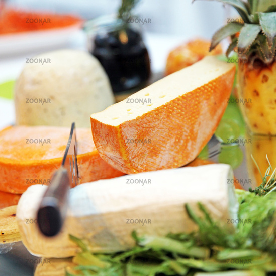 different cheeses - close-up