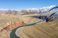 nujiang river landscape with tanggula mountains in tibet