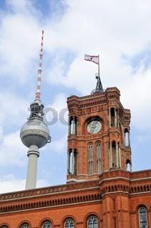 Berlin, Rotes Rathaus, Alexanderplatz, Fernsehturm
