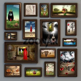 Surreale Bilderwand