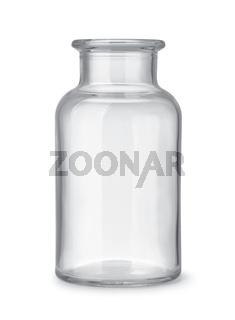 Open empty glass wide neck medicine bottle