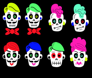 set of vector stickers of funny colorful skulls