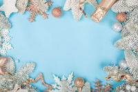 Frost fir tree and Christmas decor