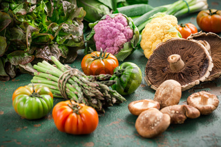 Assortment of organic vegetables and edible mushrooms on green background