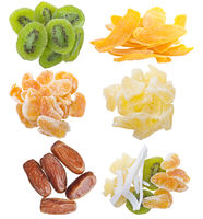 assortment of dried fruits on white background