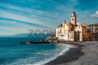 View of Camogli. Camogli is a small Italian fishing village and tourist resort