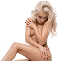 Slim naked blonde with long locks isolated shot