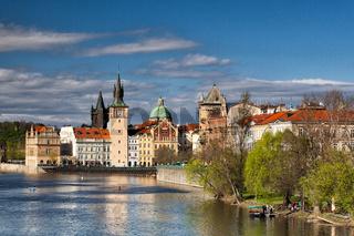 Prague architecture near the Vltava river