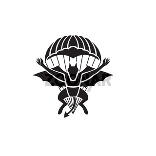 Red Devils Parachute Regiment Free Fall Team Showing a Demon Devil or Bat with Parachute Jumping Front View Military Badge Black and White