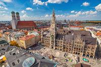 Munich Germany, high angle view city skyline at Marienplatz new Town Hall Squarewith autumn foliage season