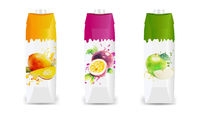 Fruit Juice Packaging Set Isolated White Background