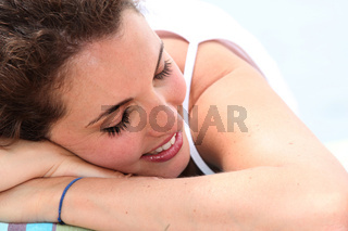 woman relaxing at the beach