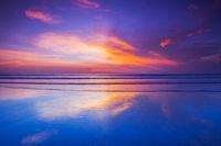 Seacoast skyline dramatic sunset