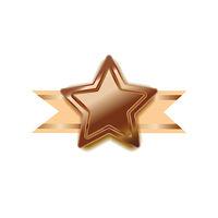Bright bronze award in star shape with beige tape, glossy winner badge on white