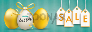 3 Easter Eggs Ribbon Vintage Banner Price Stickers Sale