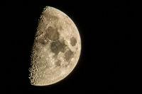 half moon in the night sky in december