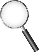 realistic magnifying glass with transparent lens isolated on white