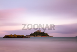 St. Michaels Mount at dusk with violett skies, Cornwall, England