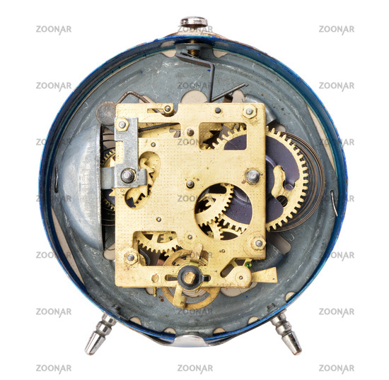 Rear side of the old alarm clock